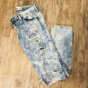 Hollister Acid-Washed Ripped Skinny Jeans Sz 25
